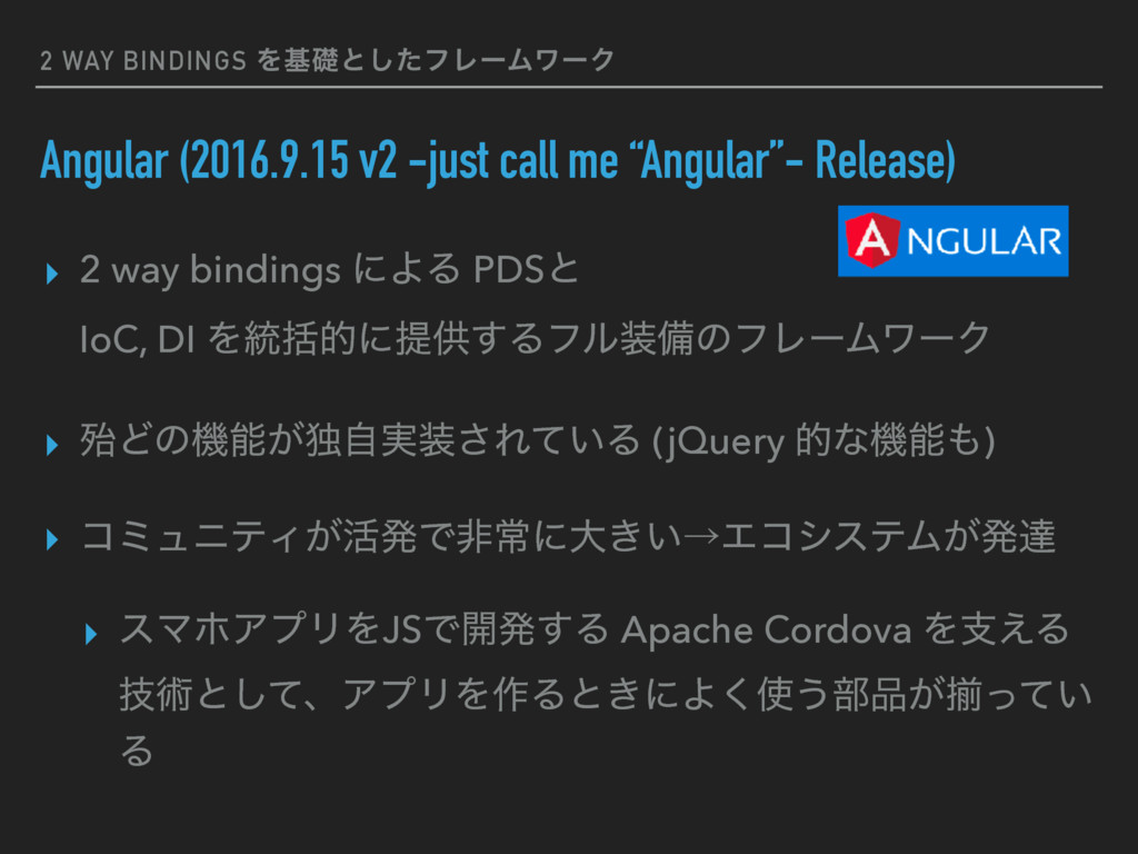 2 WAY BINDINGS Λجૅͱͨ͠ϑϨʔϜϫʔΫ Angular (2016.9.15...