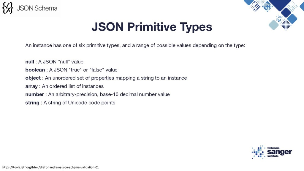 An instance has one of six primitive types, and...