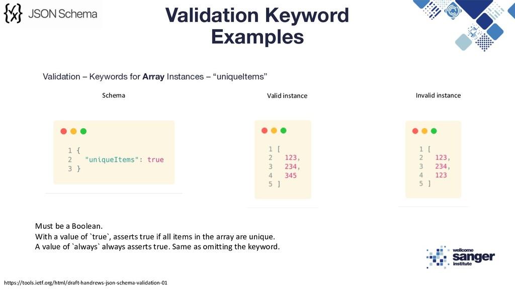 "Validation – Keywords for Array Instances – ""un..."