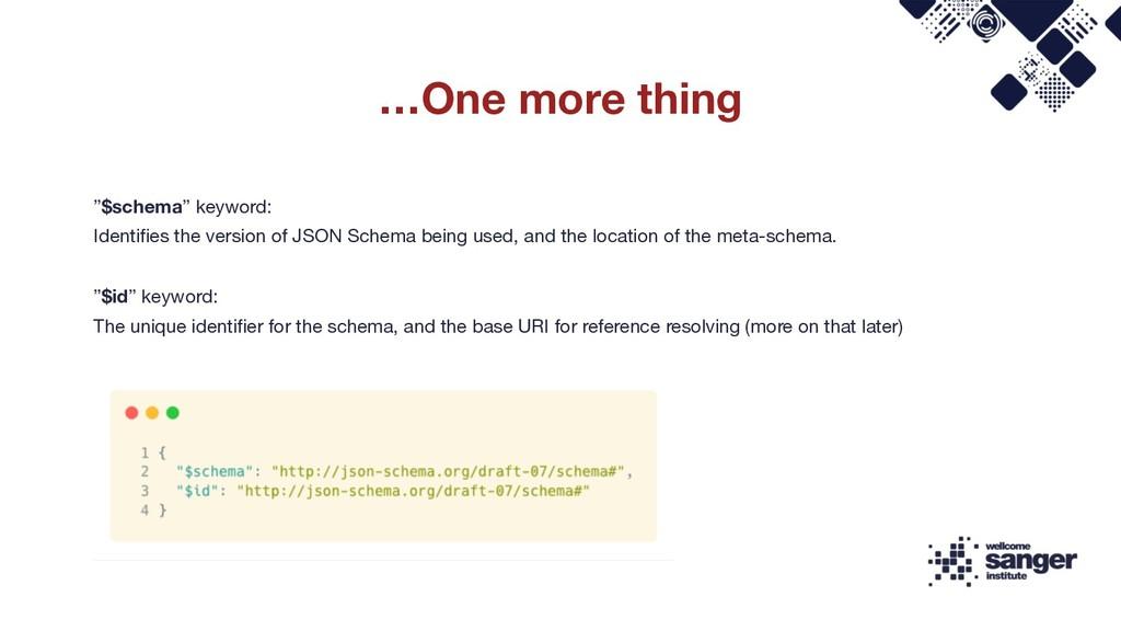 """$schema"" keyword: Identifies the version of JS..."