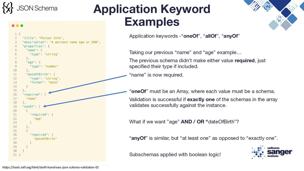 "Application keywords -""oneOf"", ""allOf"", ""anyOf""..."