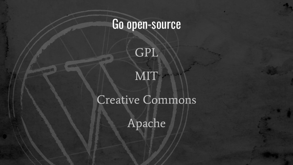 Go open-source GPL MIT Creative Commons Apache