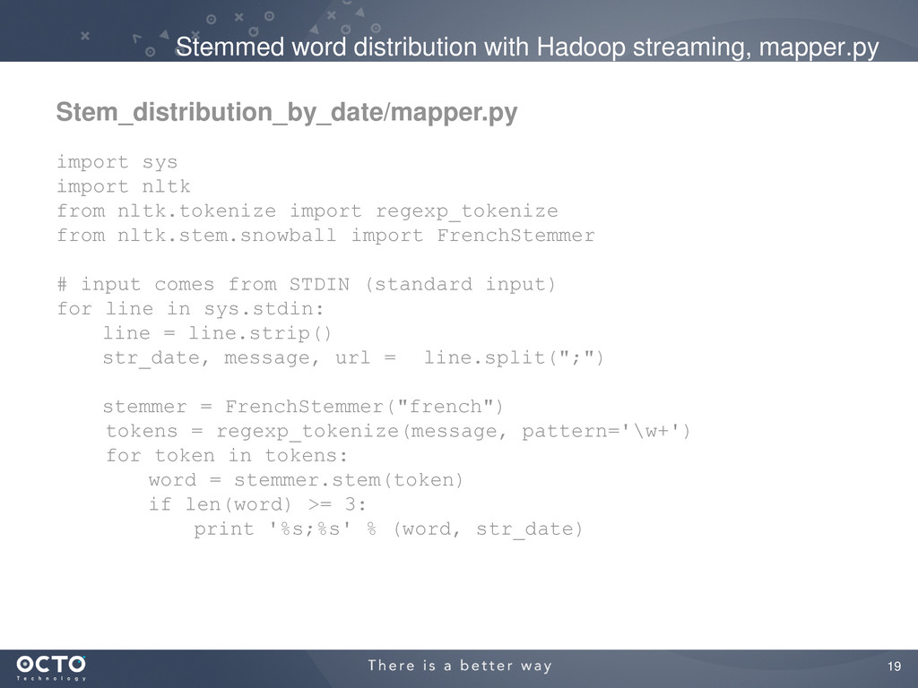 19 Stemmed word distribution with Hadoop stream...