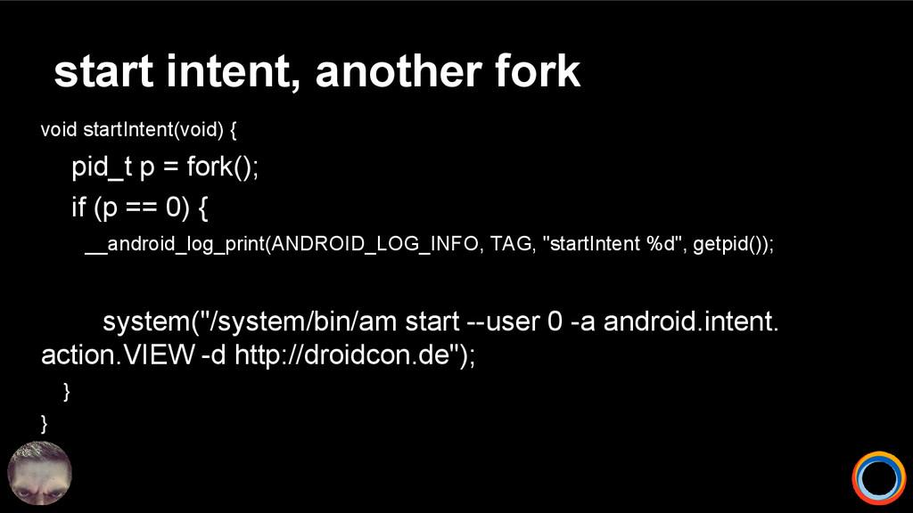 start intent, another fork void startIntent(voi...