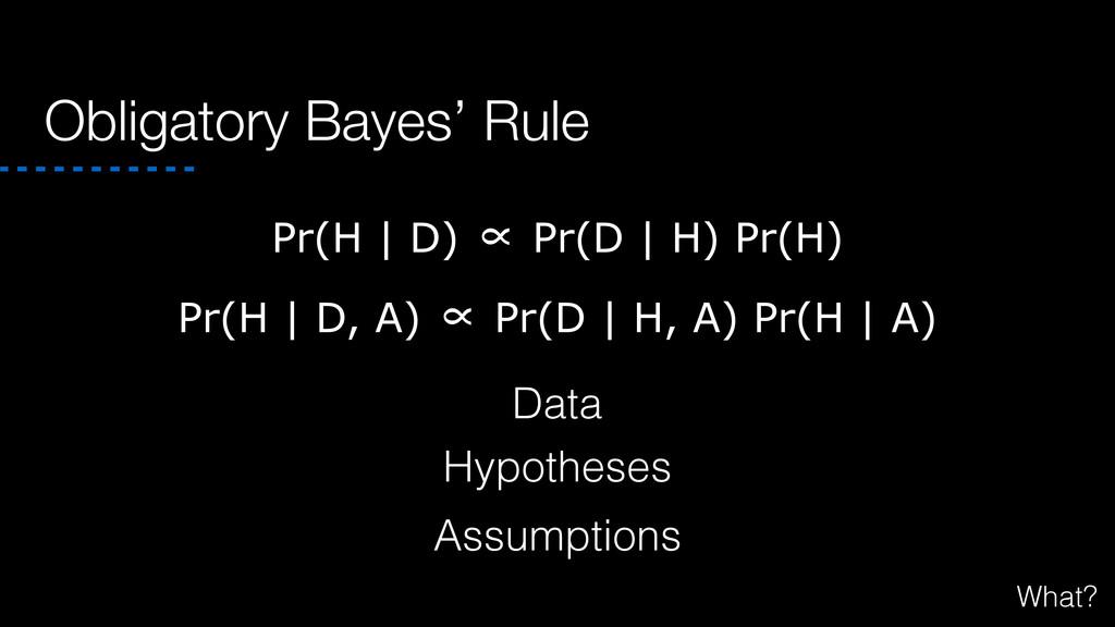 Obligatory Bayes' Rule Pr(H | D, A) ∝ Pr(D | H,...