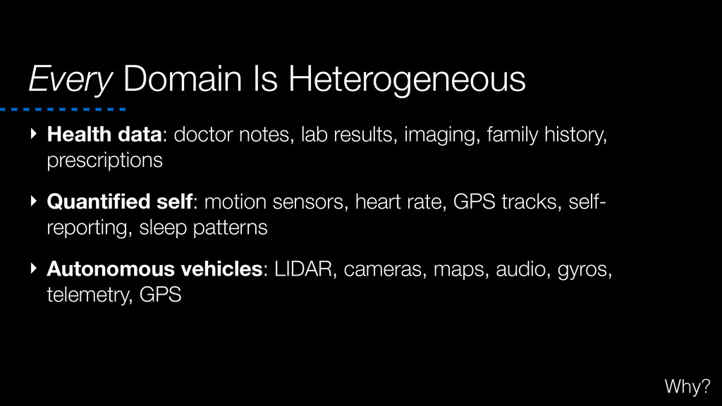 Every Domain Is Heterogeneous ‣ Health data: do...