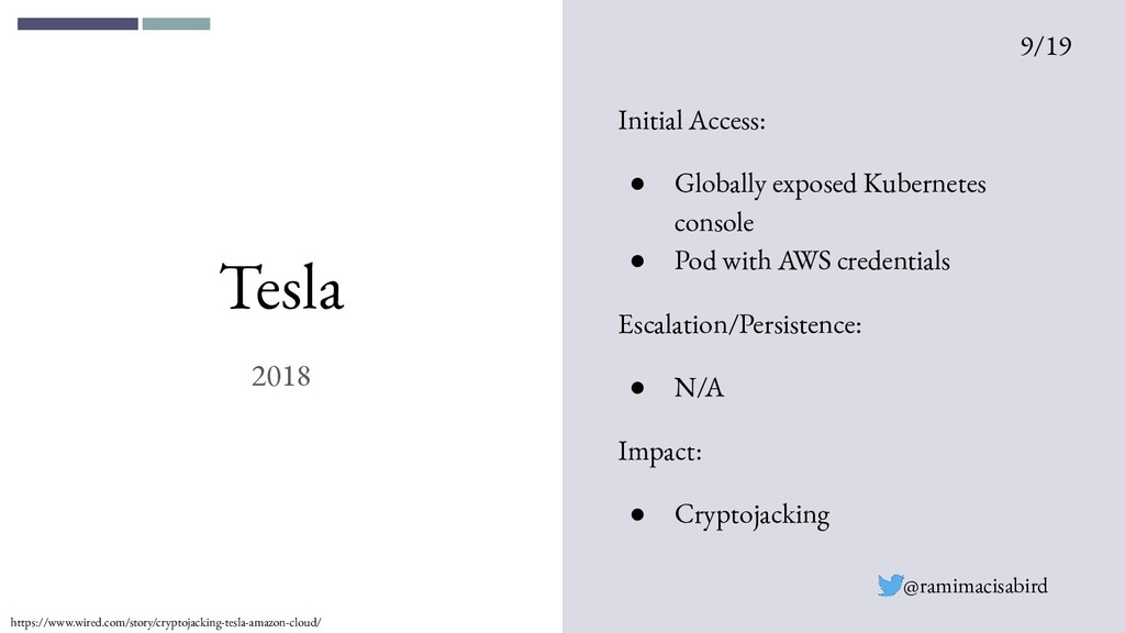 Tesla 2018 Initial Access: ● Globally exposed K...