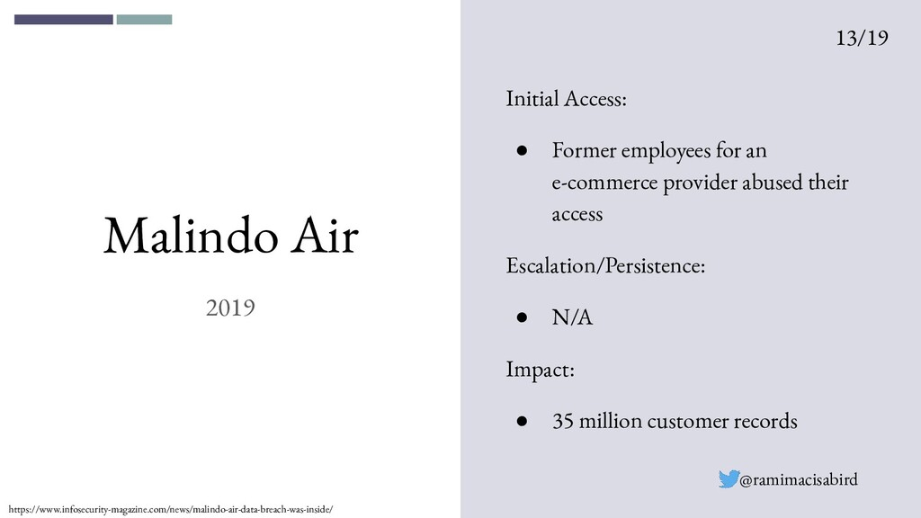 Malindo Air 2019 Initial Access: ● Former emplo...