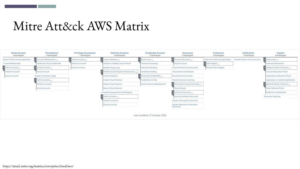 Mitre Att&ck AWS Matrix https://attack.mitre.or...