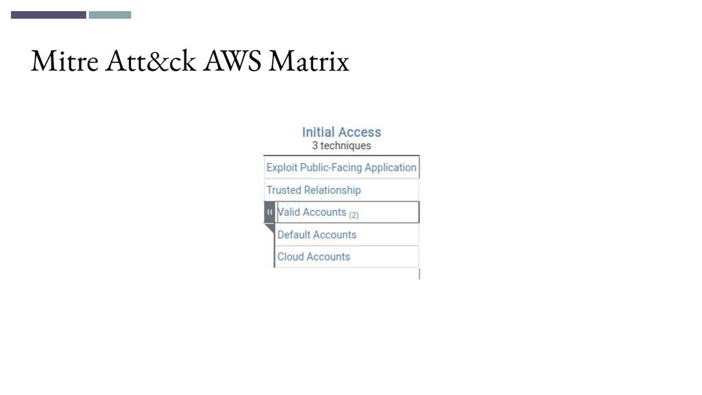 Mitre Att&ck AWS Matrix