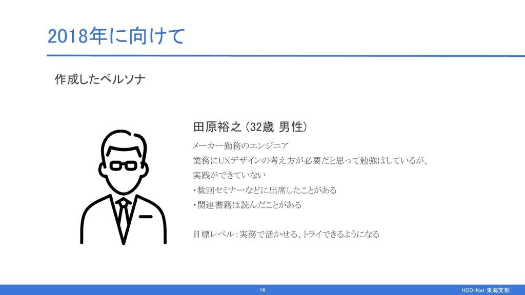 HCD-Net 東海支部  2018年に向けて 作成したペルソナ 田原裕之 (32歳 男...