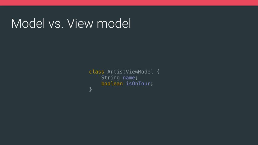 class ArtistViewModel { String name; boolean i...