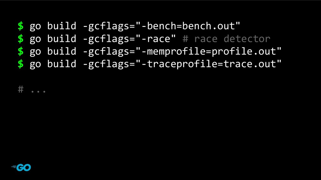 "main program $ go build -gcflags=""-bench=bench...."