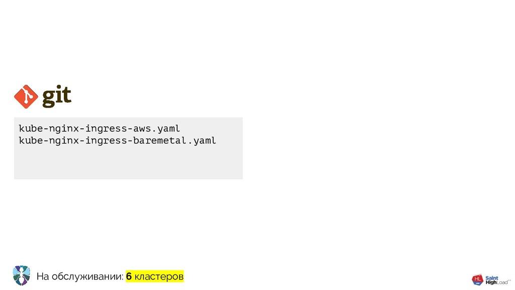 На обслуживании: 6 кластеров kube-nginx-ingress...