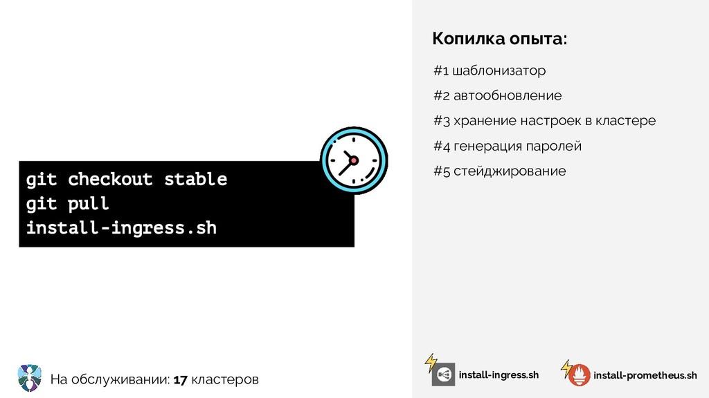 На обслуживании: 17 кластеров Копилка опыта: in...