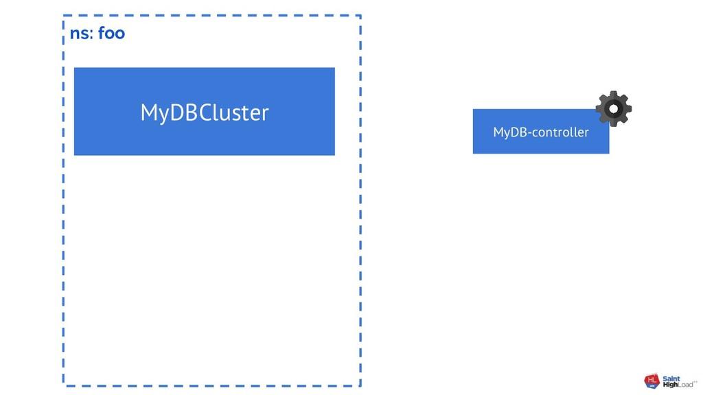ns: foo MyDBCluster MyDB-controller