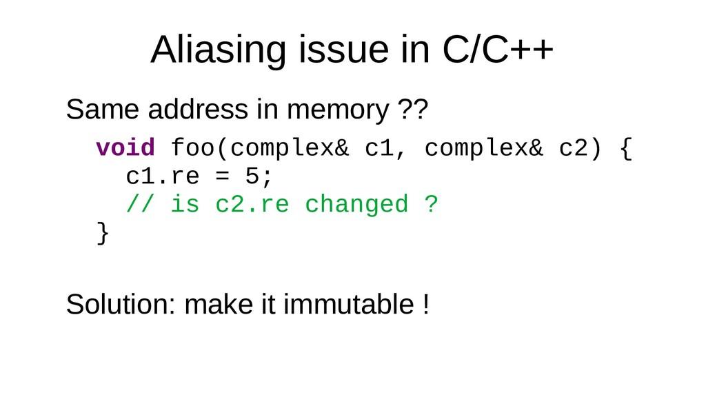 Aliasing issue in C/C++ Same address in memory ...