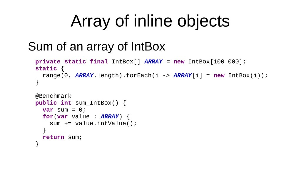 Array of inline objects Sum of an array of IntB...