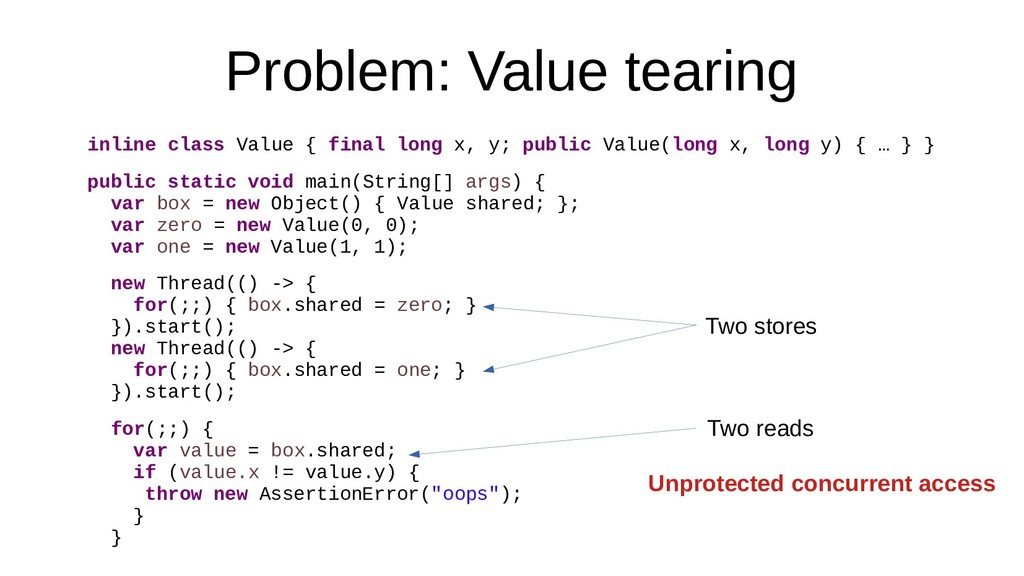 Problem: Value tearing inline class Value { fin...