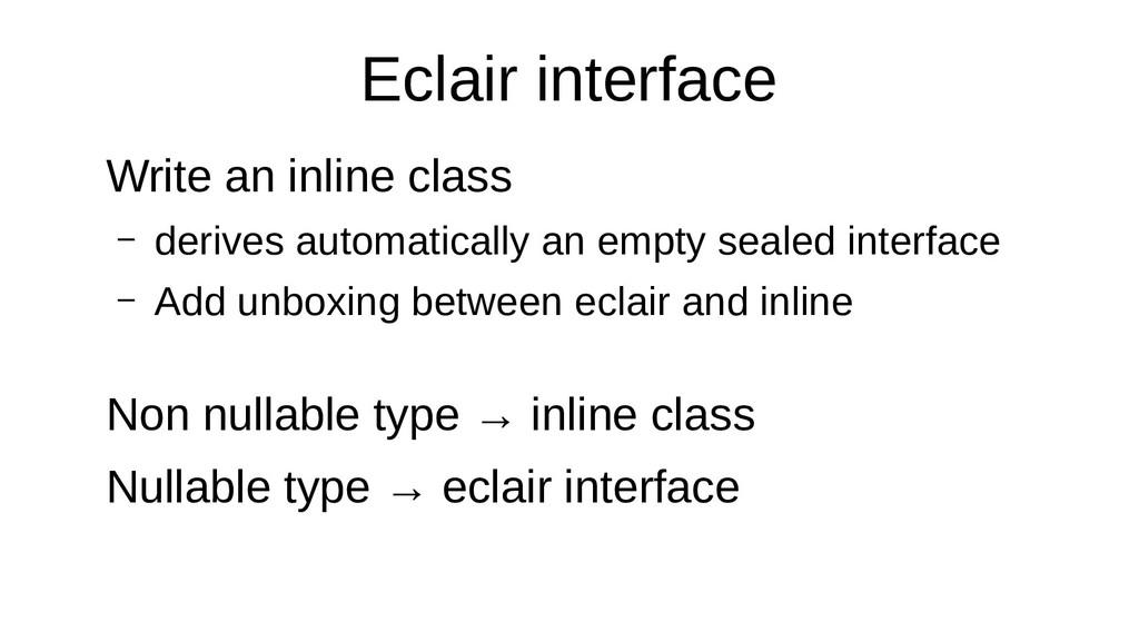 Eclair interface Write an inline class – derive...