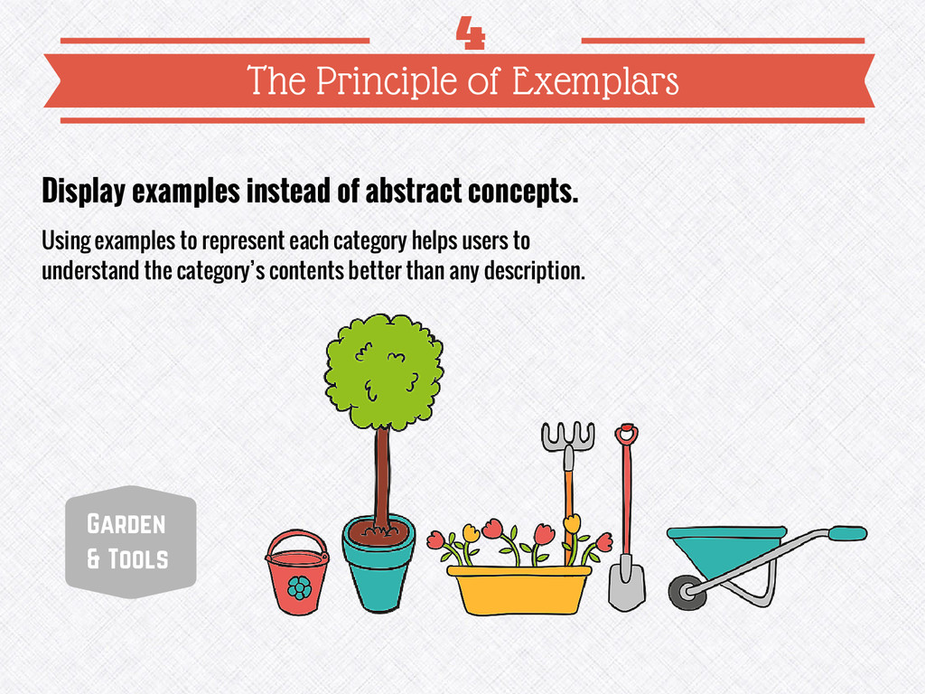 Display examples instead of abstract concepts. ...