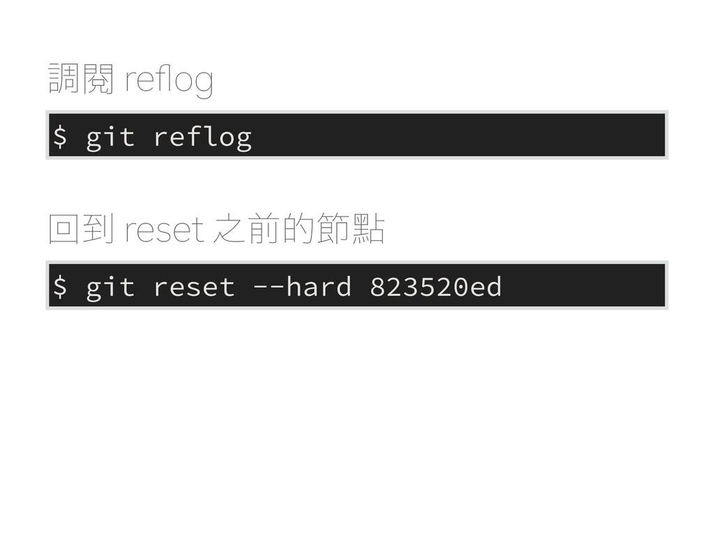 ௐ閱SFqPH $ git reflog $ git reset --hard 82352...