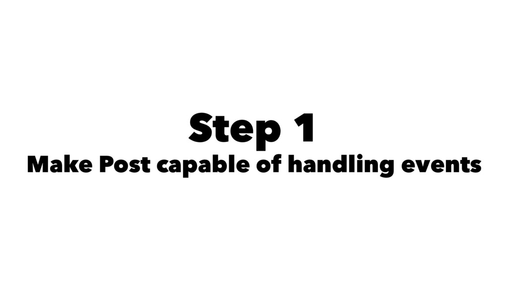 Step 1 Make Post capable of handling events