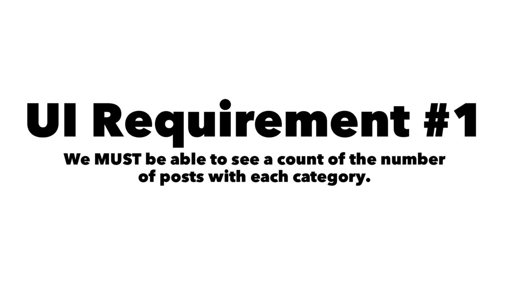UI Requirement #1 We MUST be able to see a coun...