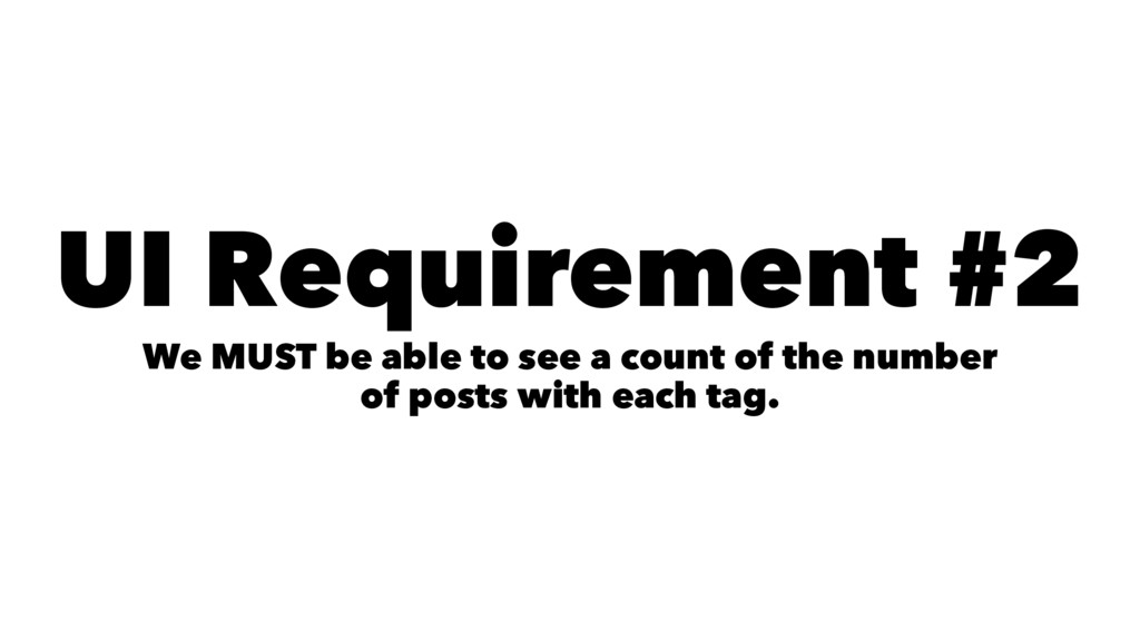 UI Requirement #2 We MUST be able to see a coun...