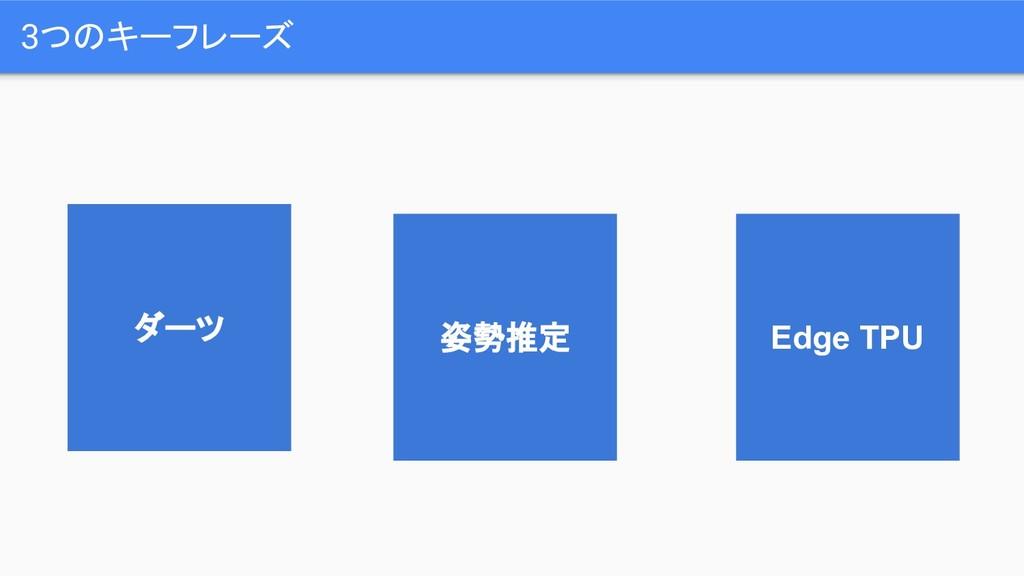 3つのキーフレーズ ダーツ Edge TPU 姿勢推定