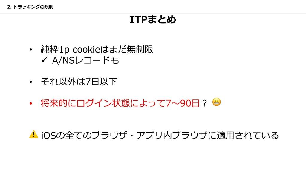 ITPまとめ 2. トラッキングの規制 • 純粋1p cookieはまだ無制限 ü A/NSレ...