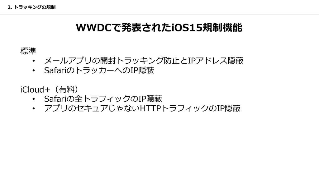 WWDCで発表されたiOS15規制機能 標準 • メールアプリの開封トラッキング防⽌とIPアド...