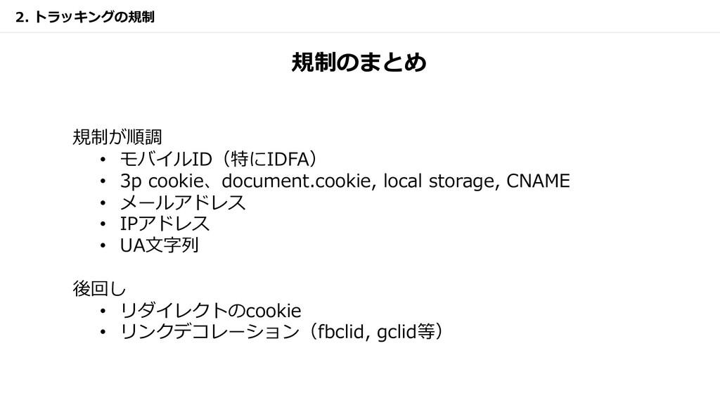 規制のまとめ 規制が順調 • モバイルID(特にIDFA) • 3p cookie、docum...