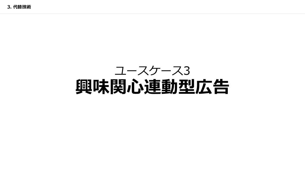 ユースケース3 興味関⼼連動型広告 3. 代替技術