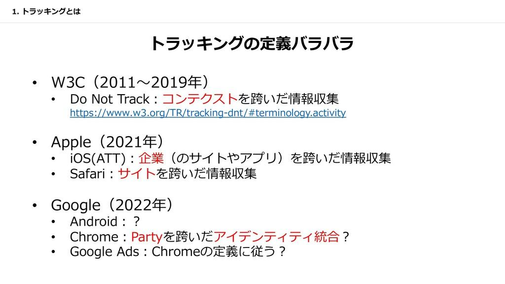 トラッキングの定義バラバラ • W3C(2011〜2019年) • Do Not Track︓...