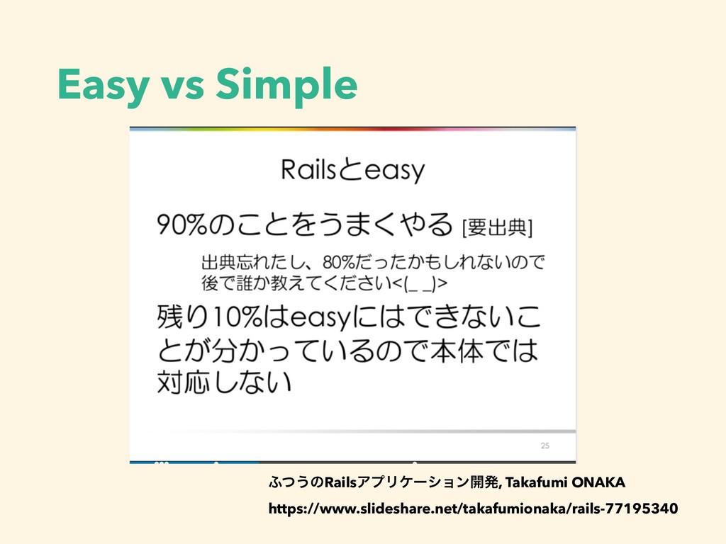 Easy vs Simple ;ͭ͏ͷRailsΞϓϦέʔγϣϯ։ൃ, Takafumi ON...