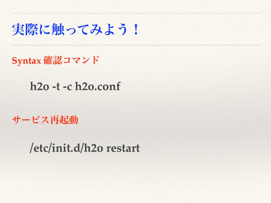 ࣮ࡍʹ৮ͬͯΈΑ͏ʂ h2o -t -c h2o.conf Syntax ֬ίϚϯυ /et...