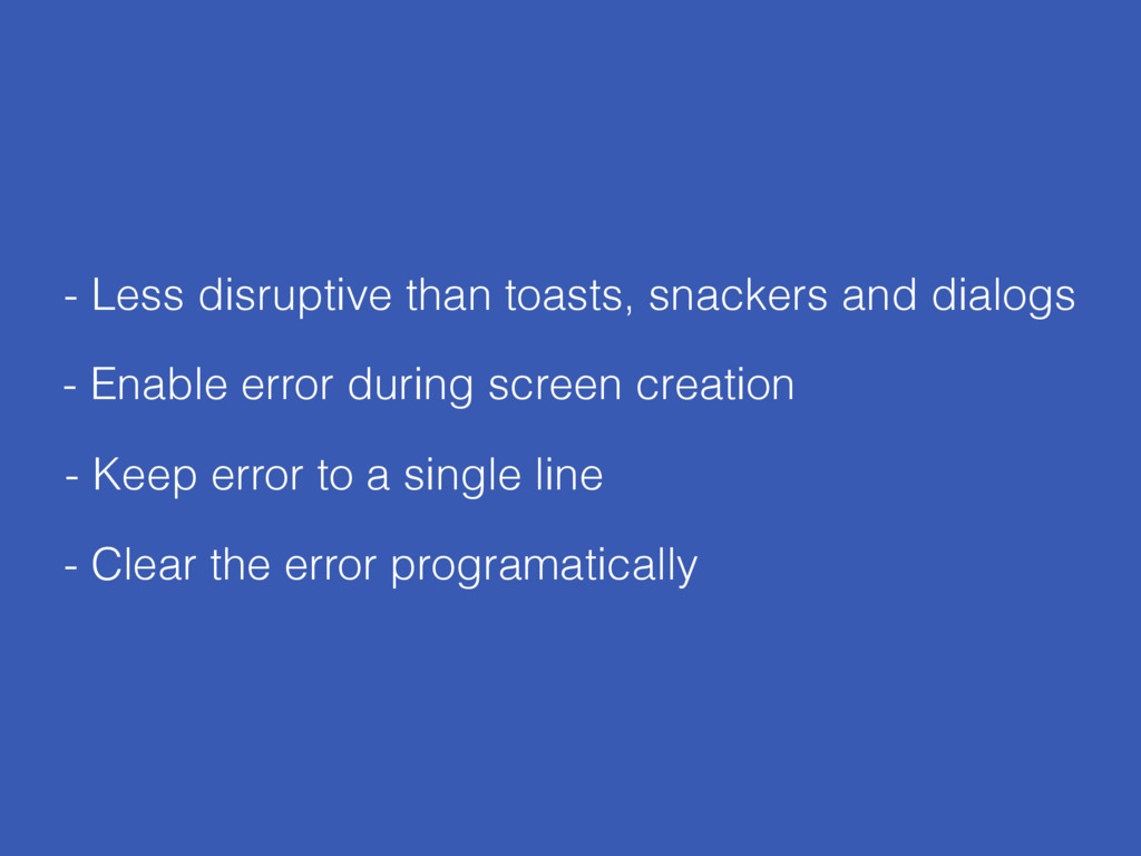 - Enable error during screen creation - Clear t...