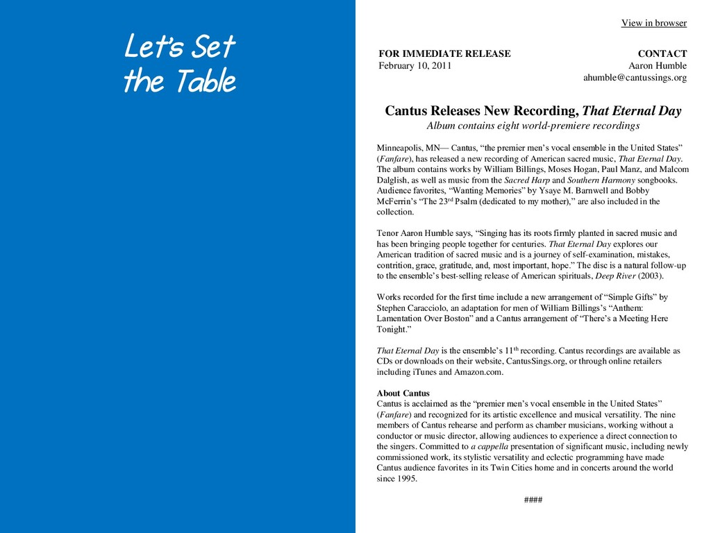 Let's Set the Table Cantus Releases New Recordi...