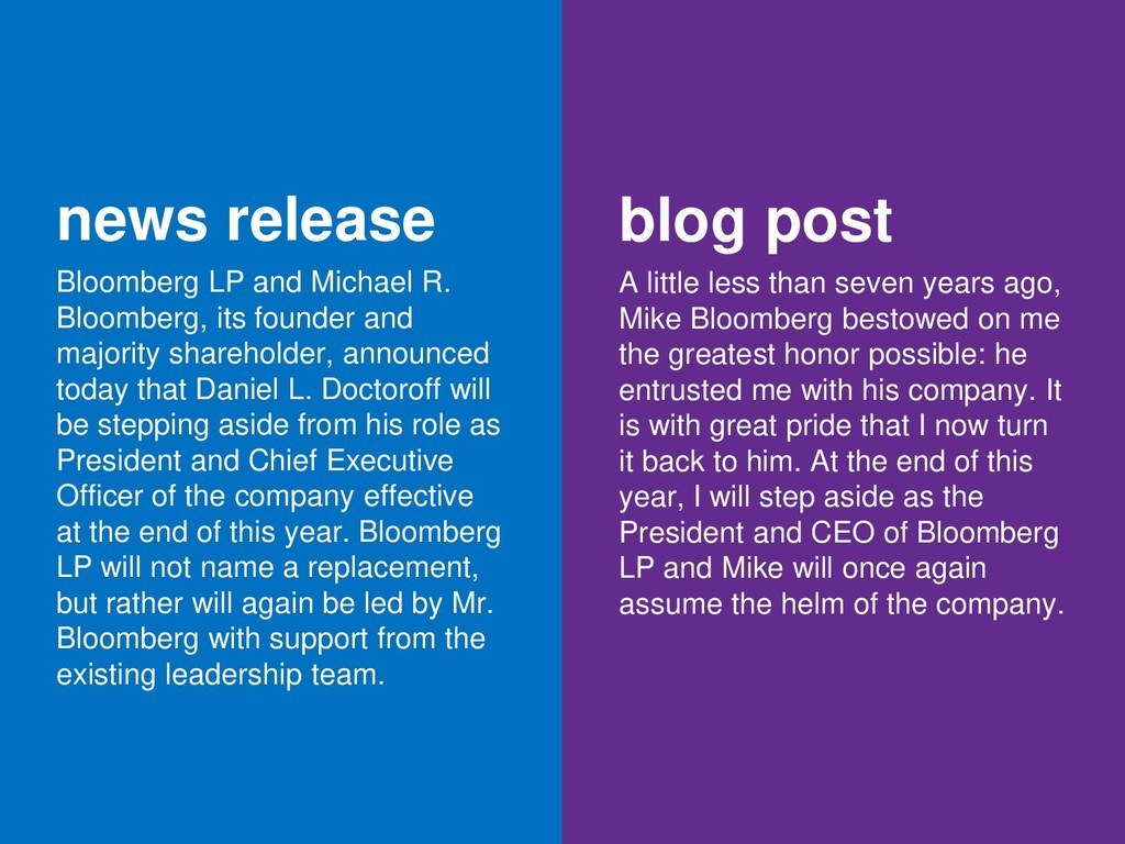 news release Bloomberg LP and Michael R. Bloomb...
