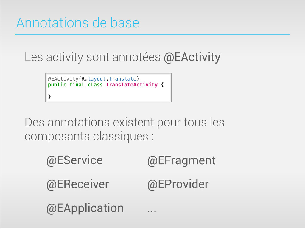 Annotations de base @EActivity(R.layout.transla...