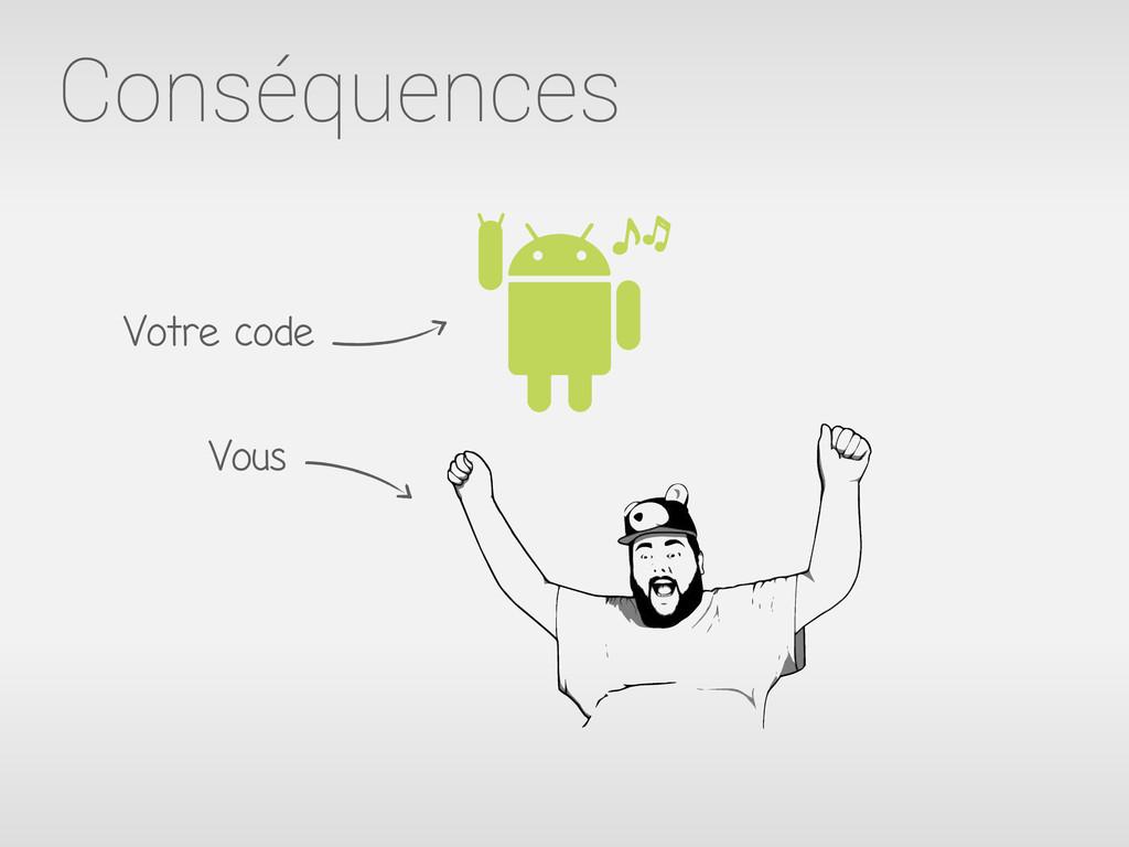 Conséquences Votre code Vous