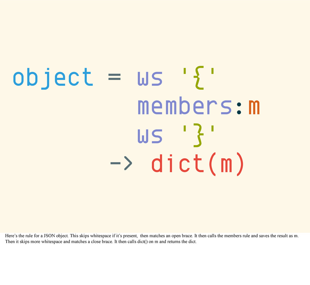 object = ws '{' members:m ws '}' -> dict(m) Her...