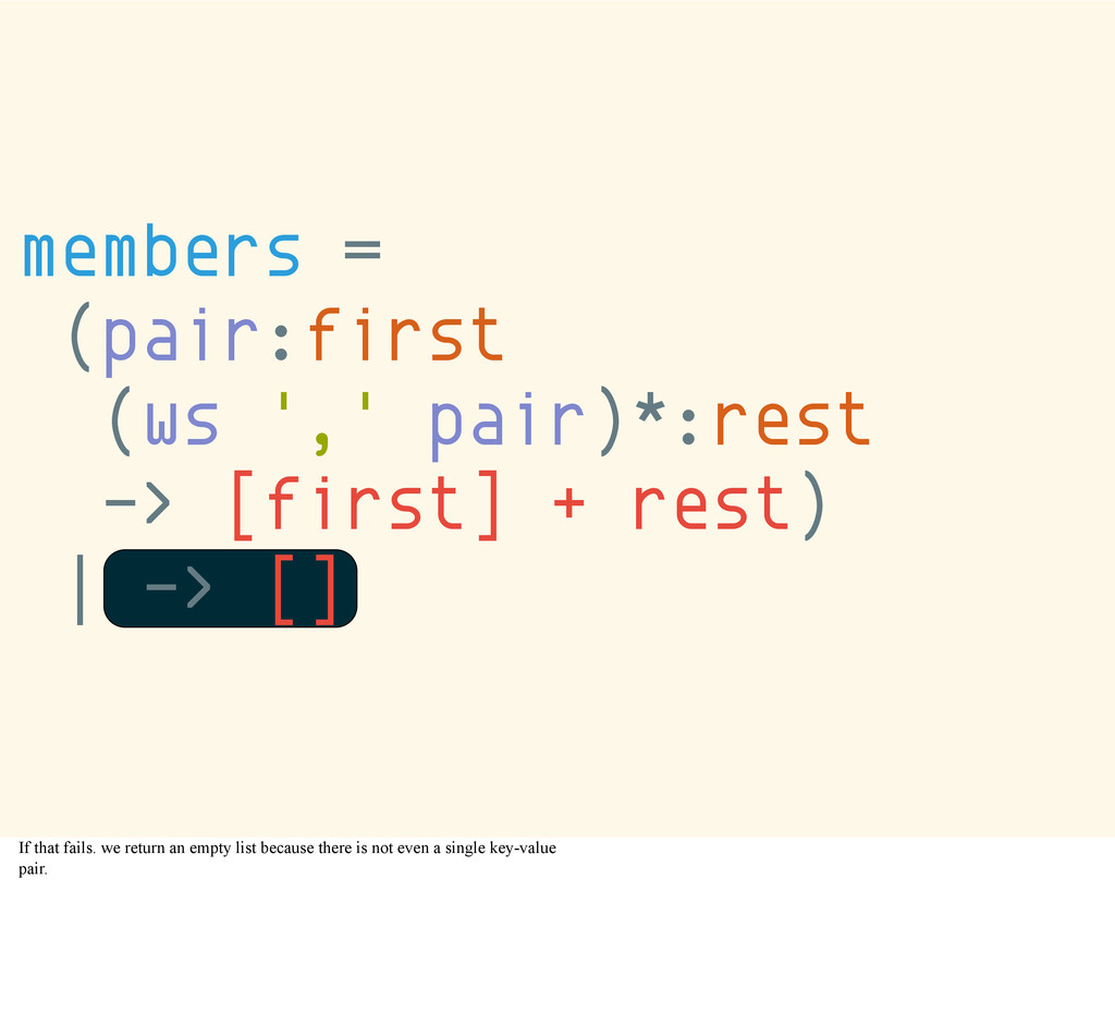 members = (pair:first (ws ',' pair)*:rest -> [f...