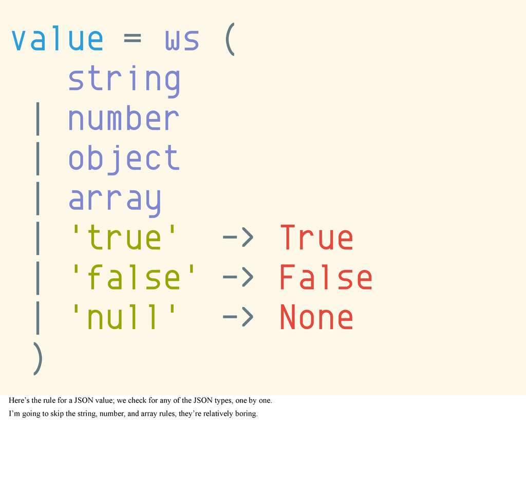 value = ws ( string | number | object | array |...