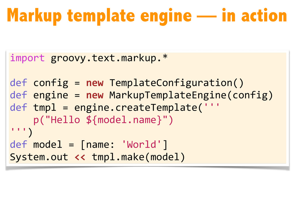 Markup template engine — in action import gr...