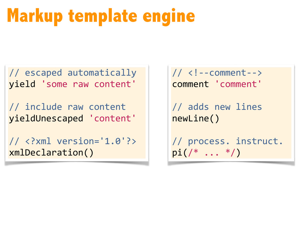 Markup template engine // escaped automat...