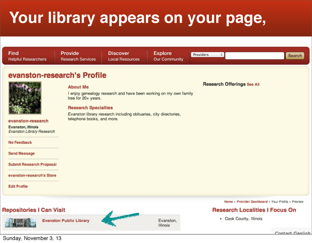 13 Your library appears on your page, Sunday, N...