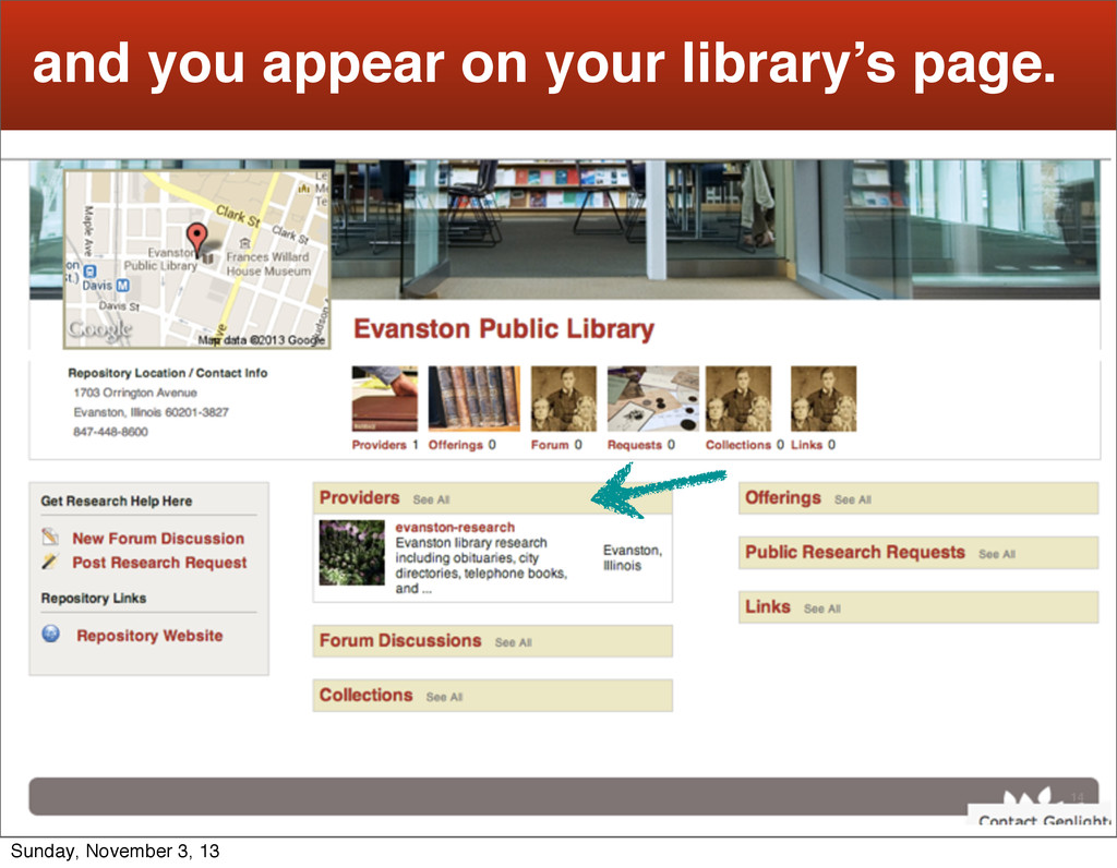 14 and you appear on your library's page. Sunda...