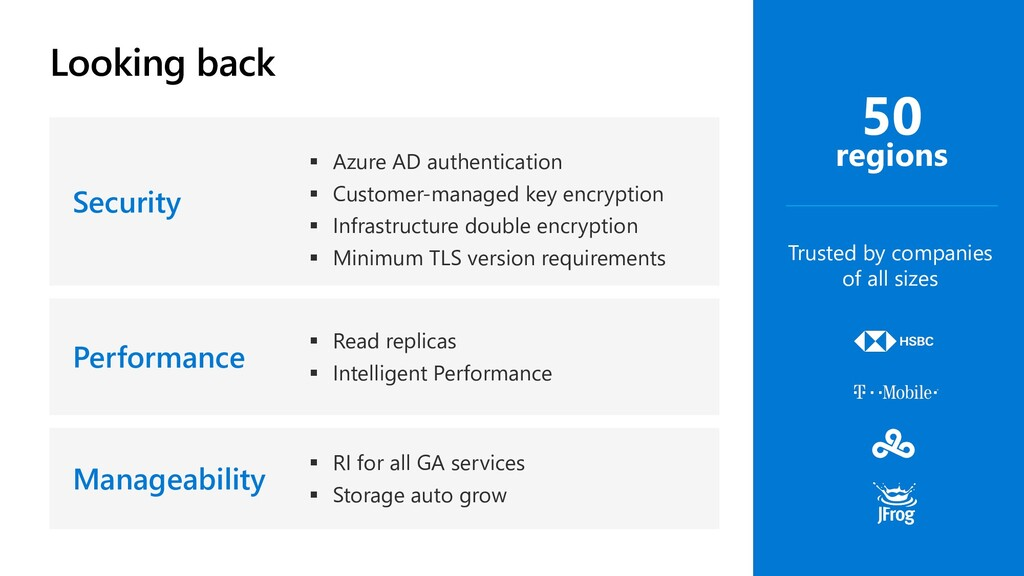 Looking back Security § Azure AD authentication...